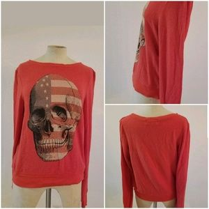 Wildfox Sweater Top Skull USA Flag Sz XS